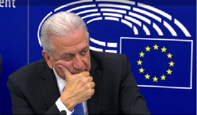 eu_jha_commissioner_avramopoulos_listening_to_aggs_question_ebs_tv_eurofora_400