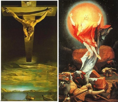salvador_dali_christ_on_the_cross_1951__grunewald_christ_resurrection_1515_400